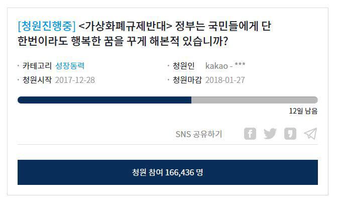 靑, 가상화폐 답변 '카운트다운'…규제반대 청원 16만명 넘어
