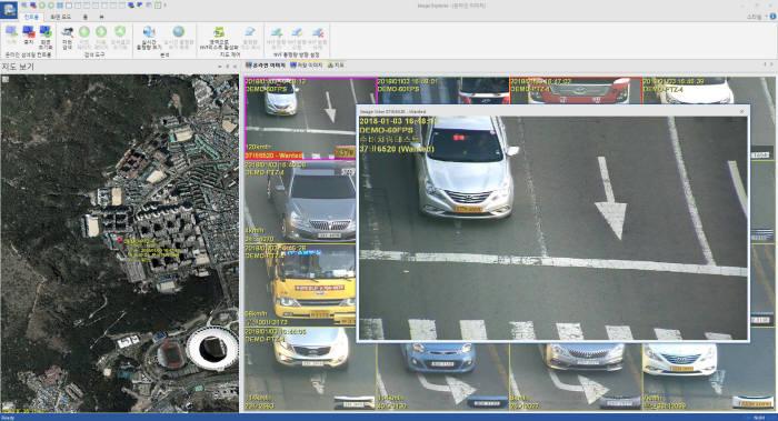 리얼허브 통합 LPR시스템의 수배차량 윈도우 팝업 이미지.