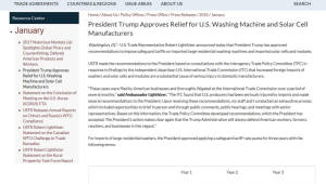 美, 삼성·LG 등 외국산 세탁기와 태양광 제품에 세이프가드 발동