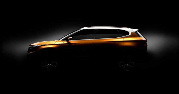 기아차의 소형 스포츠유틸리티차량(SUV) 콘셉트카 'SP' 티저 이미지.