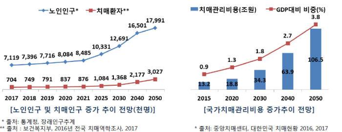국내 치매환자 현황(자료: 보건복지부, 중앙치매센터)