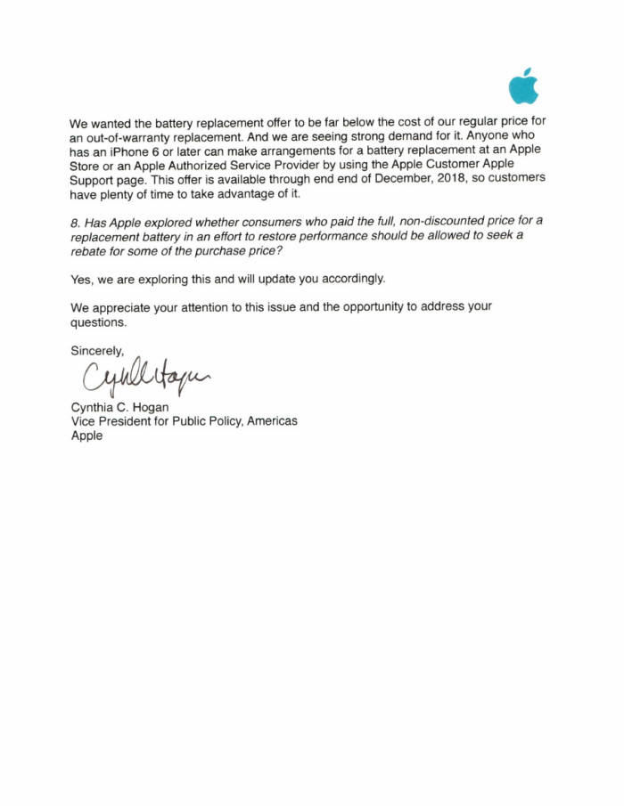 신디아 호건(Cynthia Hogan) 애플 공공정책 담당 부사장이 미국 상원의원에 보낸 공개질의 답변서 다섯 번째 페이지.