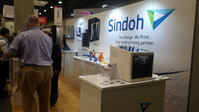 7일(현지시간) 미국 로스앤젤레스(LA)에서 열린 '솔리드웍스월드 2018'에서 신도리코(Sindoh)가 3D프린팅 제품을 전시했다.