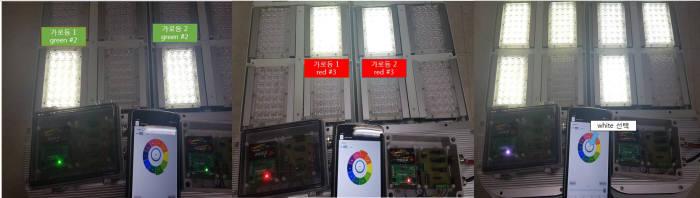 부경대 LED-해양융합기술연구센터가 개발한 '블루투스 메쉬 네트워크 기반 해운항만용 LED가로등 무선제어시스템'의 개별 및 그룹 제어 테스트.