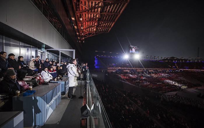 문재인 대통령이 평창동계올림픽 개회 선언을 하고 있다. <출처:청와대>