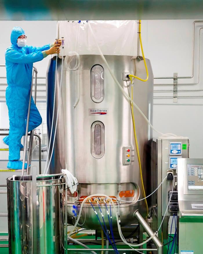 SK케미칼이 안동 L하우스에서 세포배양 탱크를 활용해 독감백신을 생산하고 있다.