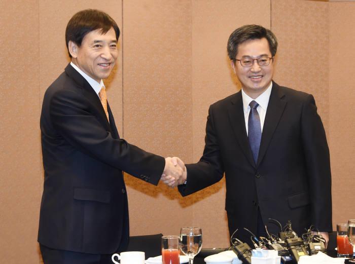 이주열 한국은행 총재(왼쪽)와 김동연 경제부총리 겸 기획재정부 장관.