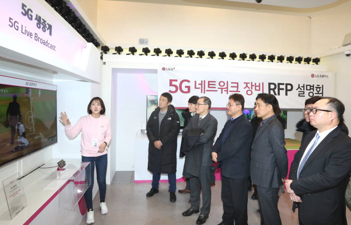 LG유플러스 5G 네크워크 장비 도입 설명회에 참가한 국내외 글로벌 장비회사 관계자들이 LG유플러스 '모두의 5G 체험관'에서 5G 생중계를 체험하고 있는 모습