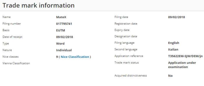 화웨이가 9일(현지시간) 유럽연합 지식재산권사무소(EUIPO)에 메이트X 상표 등록 신청서를 제출했다