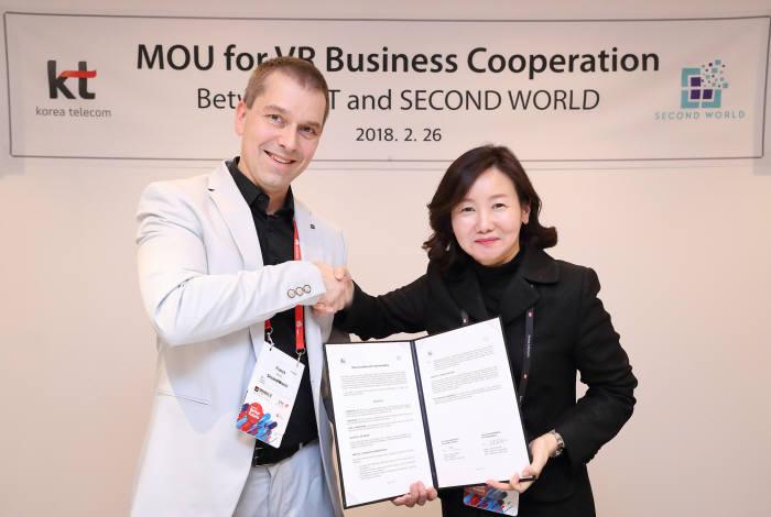 프랭크 마일렛 세컨드월드 최고경영자(CEO)와 고윤전 KT 미래사업개발단 단장이 VR 플랫폼과 콘텐츠를 공급을 위한 협약을 체결했다.