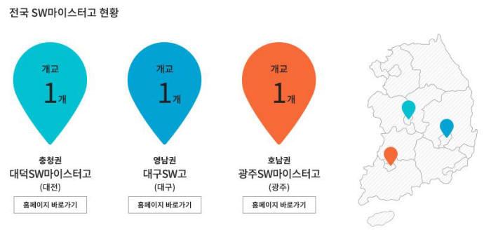 전국 SW마이스터고 현황, 출처:과학기술정보통신부