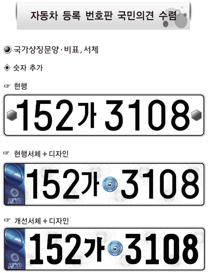 숫자추가한 번호판의 디자인 변경안