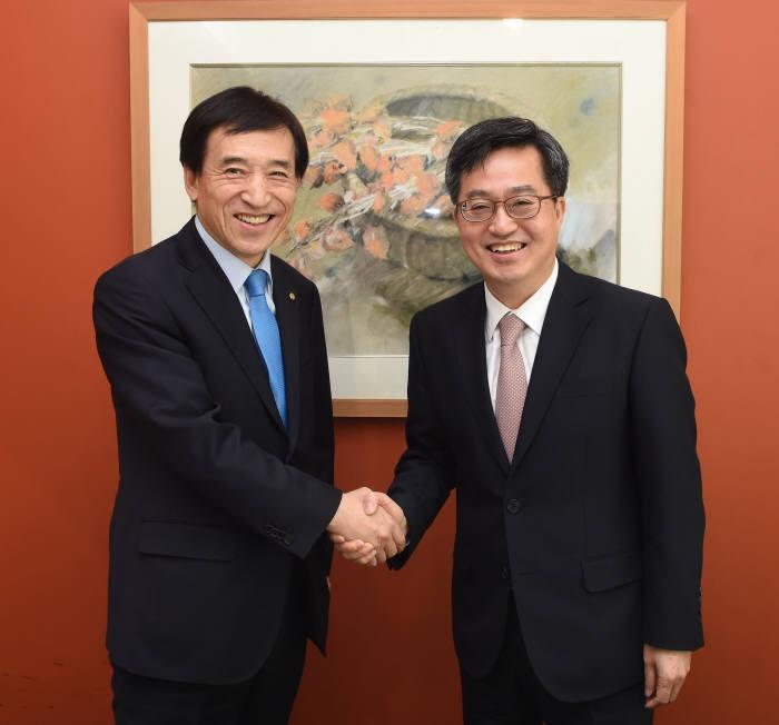 김동연 경제부총리 겸 기획재정부 장관(오른쪽)이 이주열 한국은행 총재와 악수하고 있다.