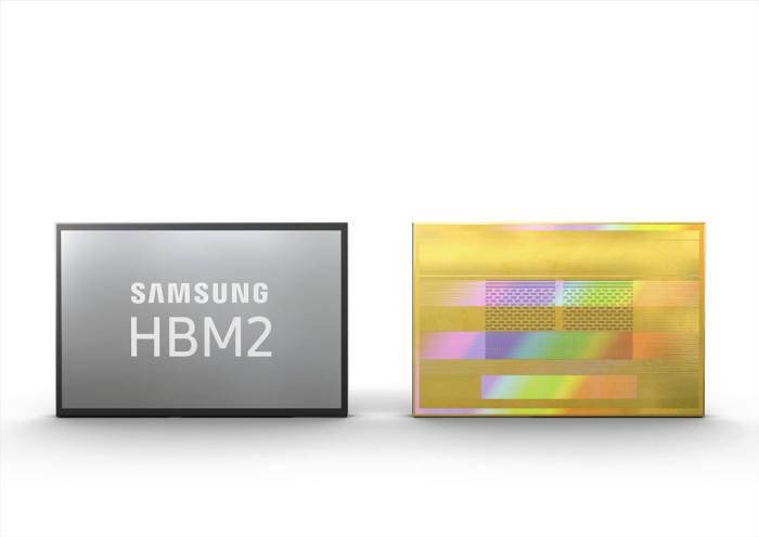 삼성전자 초고속 적층 D램 HBM2. 천안에서 이 제품의 적층 공정이 수행될 예정이다.