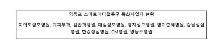 스마트메디컬특구 특화사업자 현황