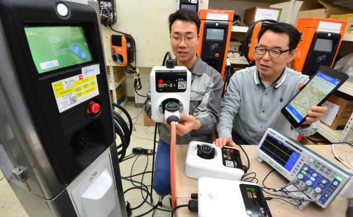 경기도 의왕시 클린일렉스 연구원이 기존 충전기 크기보다 작은 스마트폰 연동 초소형 멀티충전기를 시험하고 있다.