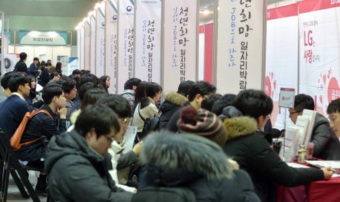자난 2월 서울 삼성동 코엑스에서 열린 '청년희망 일자리박람회' 모습.