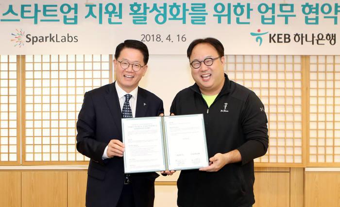 조종형 KEB하나은행 외환사업단 본부장(왼쪽)과 김유진 스파크랩 공동대표.