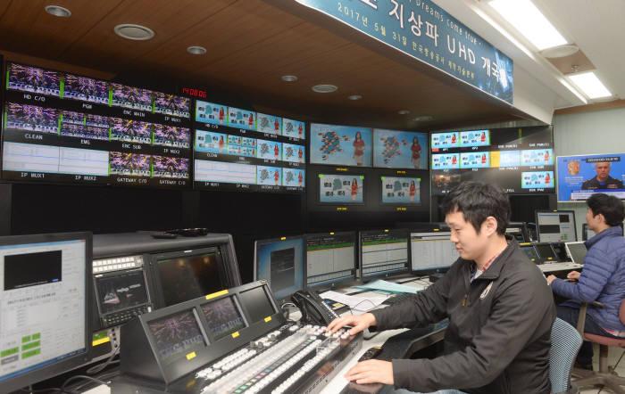서울 여의도 KBS 주조정실에서 엔지니어가 UHD 방송 송출을 점검하는 모습.
