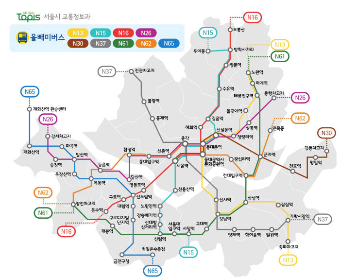 서울시에서는 휴대폰 사용이력 데이터를 바탕으로 최적의 심야 버스 노선을 선정했다.