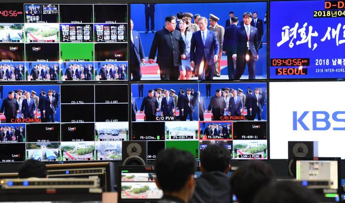 [2018 남북정상회담]생중계하는 주관방송사 주조정실