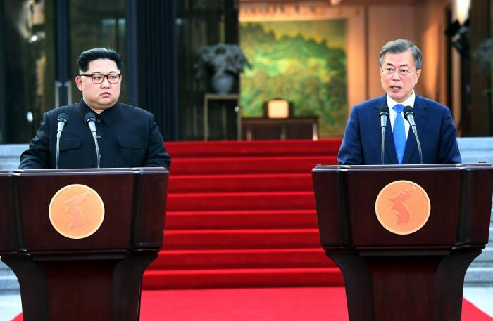 [2018 남북정상회담]판문점 선언 한국공동사진기자단