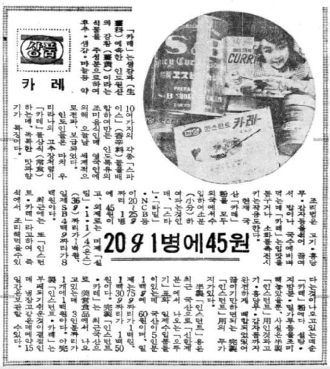 1960년대 후반, 당시 유행했던 카레제품에 대해 소개한 1968년 2월 16일자 매일경제신문 기사. 사진=네이버 뉴스라이브러리 캡처