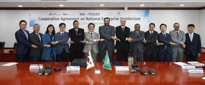 한국정보화진흥원(NIA)이 사우디아라비아 전자정부 지원기관 예세르(YESSER)와 EA(Enterprise Architecture) 협력을 위한 협약을 체결했다. 체결식 후 양측 관계자들이 기념촬영했다.
