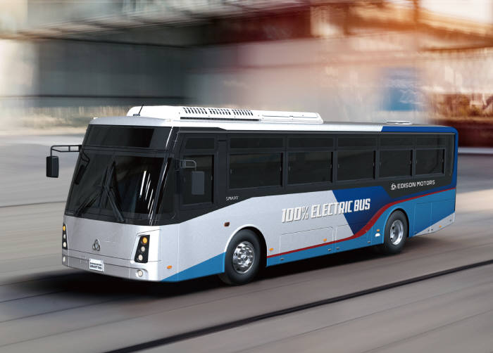 에디슨모터스가 8일 개막하는 부산국제모터쇼에서 11m급 좌석버스용 전기버스 등 3종의 상용 전기차를 공개한다.
