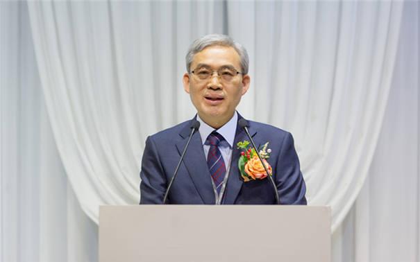 임춘택 한국에너지기술평가원 신임 원장이 5일 취임식에서 취임연설을 하는 모습.