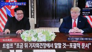 """65년만에 처음 만나 사인한 김정은·트럼프…""""중대한 변화"""""""