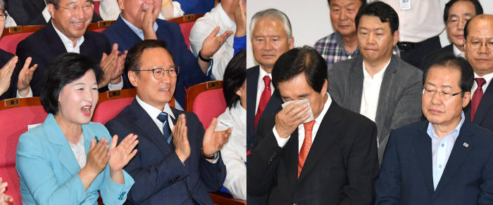 [6·13 지방선거]출구조사에 여당 '환호', 야당 '침묵'...홍준표 '사퇴 시사'