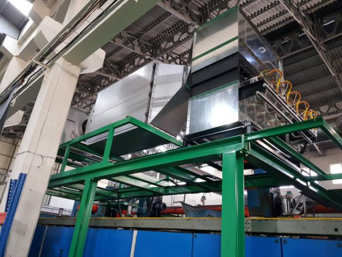 대구 서대구공단 소재 (주)나경의 다림질시설(텐터)에 SFS의 대기방지시설을 설치한 모습.