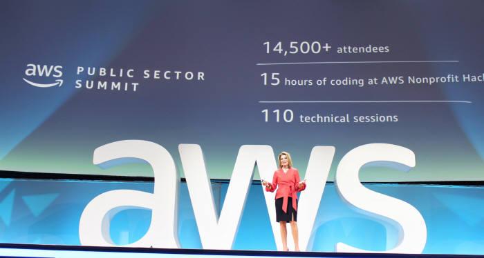 테레사 칼슨 아마존웹서비스(AWS) 월드와이드 공공사업 부문 총괄 부사장이 20일(현지시간) 미국 워싱턴 D.C. 워싱턴 컨벤션 센터에서 열린 'AWS 공공부문 서밋 2018'에서 행사를 소개하고 있다. AWS코리아 제공