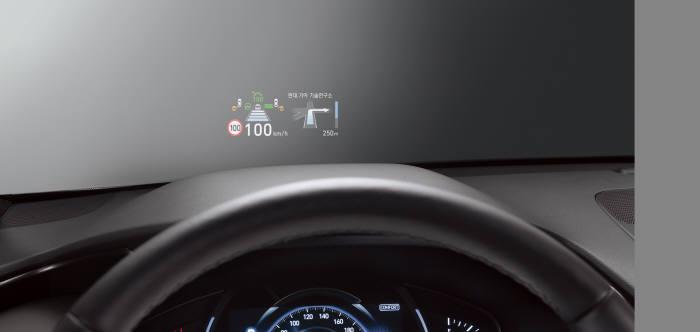 현대자동차 중형 스포츠유틸리티차량(SUV) '신형 싼타페' 헤드업디스플레이 (제공=현대차)