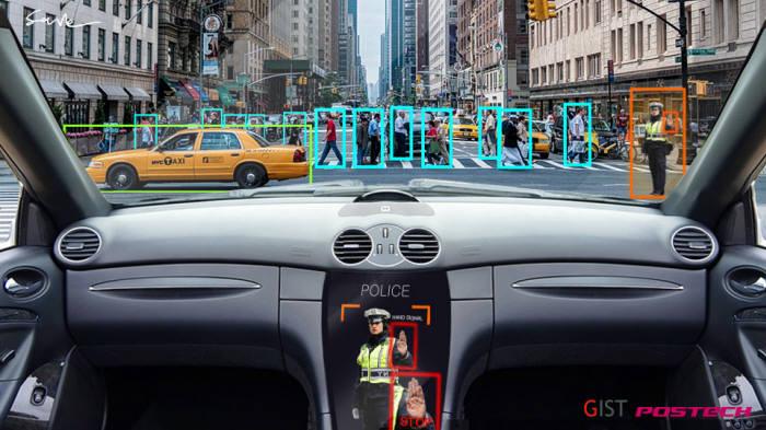 자율주행 차량에서 경찰관과 수신호를 인지하는 모습.