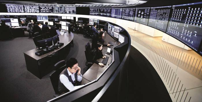 현대카드 트래픽모니터링센터(TMC) 내부 모습
