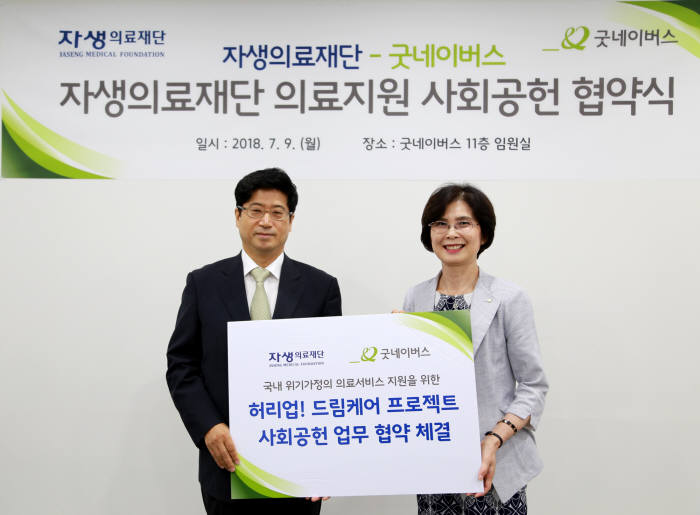 신민식 잠실자생한방병원장(왼쪽)과 김인희 굿네이버스 부회장.