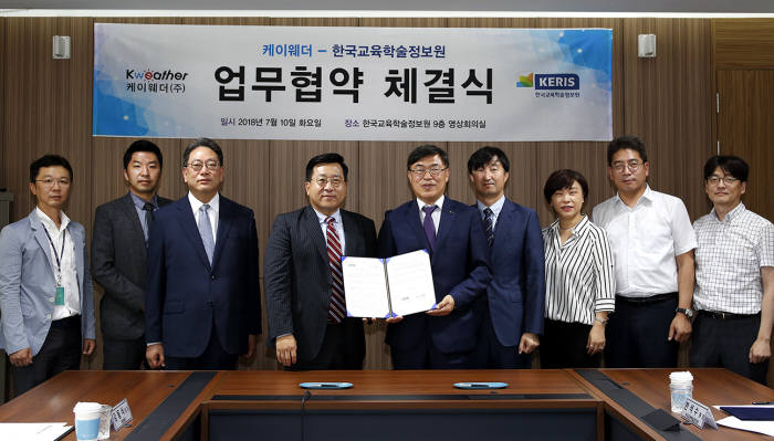 한국교육학술정보원과 케이웨더가 빅데이터 학교 미세먼지 문제 해결에 협력하기로 했다. 양쪽 관계자들이 협력 체결식 후 기념촬영했다. 한국교육학술정보원 제공