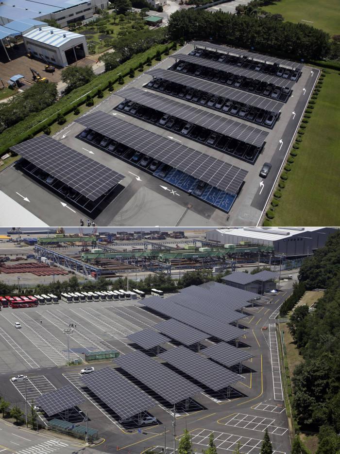 두산중공업 본관 주차장 태양광 전경(상)과 두산중공업 정문 주차장 태양광+ESS 발전소 전경(하)