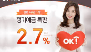 OK저축銀, 연 2.7% 금리 제공 'OK안심정기예금' 특판