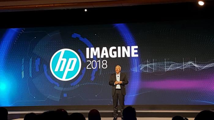 리처드 베일리 HP 아시아태평양·일본 지역 사장이 18일(현지시간) 싱가포르 리츠칼튼 호텔에서 HP 이매진 2018(HP Imagine 2018)에서 HP 아태지역 전략에 대해 설명하고 있다.