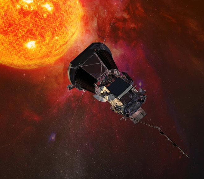 태양에 접근하는 파커 솔라 프로브. 역대 가장 가까운 거리인 620만km까지 접근해 태양의 2대 신비인 코로나와 태양풍을 집중 관측한다.(출처: NASA)