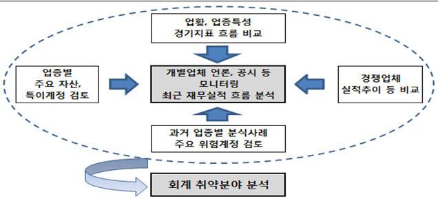 <표>금융감독원 밀착 회계취약분야 분석 방식 자료:금융감독원