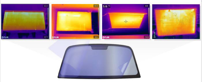 투명면상발열체 적용 예. 상단 사진은 면상발열체를 열화상 카메라로 찍은 모습이다.(자료: 아이테드)