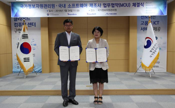 알티베이스와 국가정보자원관리원은 정보자원관리를 위한 업무 협약을 체결했다. 장재웅 알티베이스 대표(왼쪽)와 김명희 국가정보자원관리원장이 기념 촬영하고 있다.