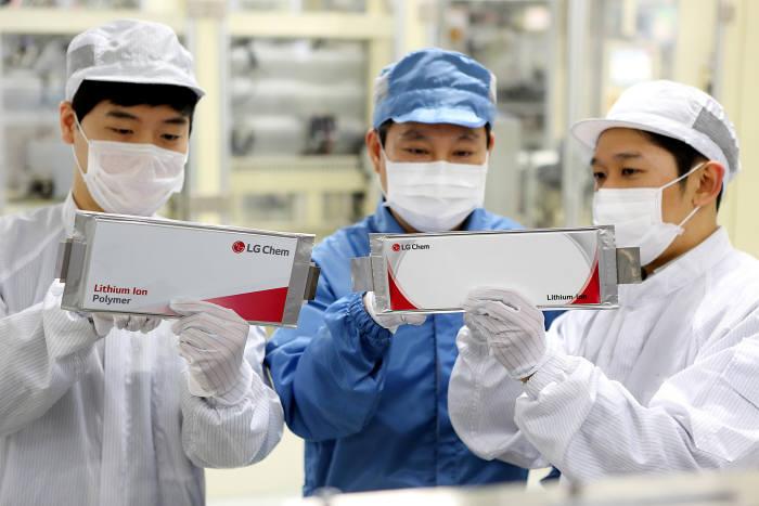 LG화학 직원들이 전기차용 배터리를 살펴보고 있는 모습(자료:LG화학)