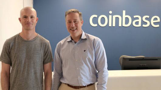 팀 와그너(오른쪽) 코인베이스 신임 엔지니어 부사장과 브라이언 암스트롱 코인베이스 CEO. 코인베이스 제공