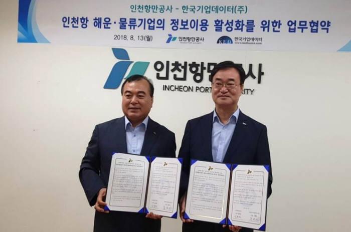 송병선 한국기업데이터 대표(왼쪽)와 남봉현 인천항만공사 사장이 MOU를 교환했다.