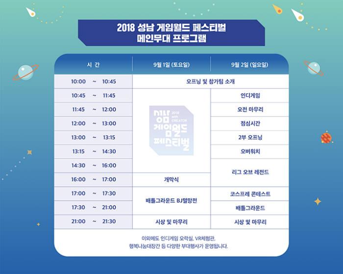 2018 성남 게임페스티벌 일정표